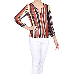 Jolie Moi - Red stripe pleated chiffon blouse