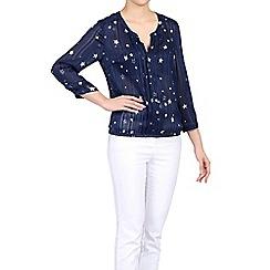 Jolie Moi - Navy star print pleated v neck blouse