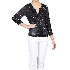 Jolie Moi - Black star print pleated v neck blouse