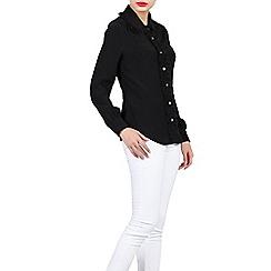 Jolie Moi - Black contrast lace trimmed blouse