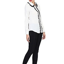 Jolie Moi - Off white contrast lace trimmed blouse