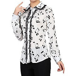 Jolie Moi - White music note printed blouse
