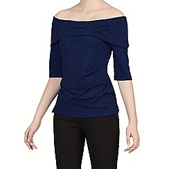 Jolie Moi - Navy textured bardot neck top