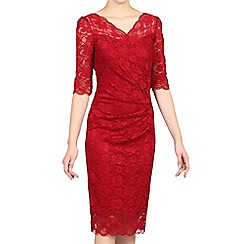 Jolie Moi - Red 3/4 sleeve scalloped lace dress