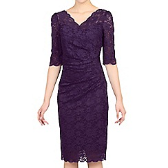 Jolie Moi - Dark purple 3/4 sleeve scalloped lace dress