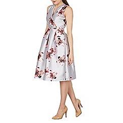 Blue Vanilla - Grey floral print wrap pleat dress