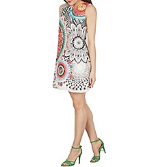 Izabel London - Multicoloured net shift dress with psychedelic print