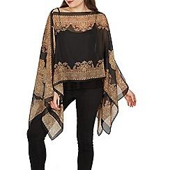 Izabel London - Black flowy chiffon scarf top