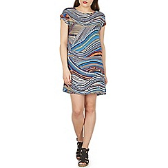 Izabel London - Blue multicolour print t-shirt dress