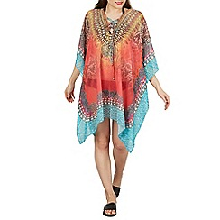 Izabel London - Multicoloured printed beach kaftan top