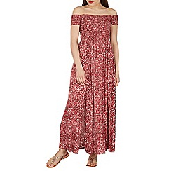 Izabel London - Red off the shoulder floral print maxi dress
