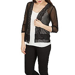 Izabel London - Black 3/4 length sheer embellished cardigan