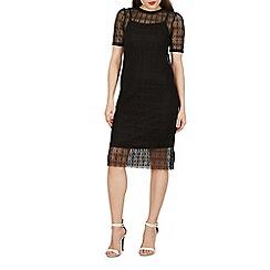 Izabel London - Black short sleeve lace midi dress