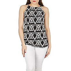 Izabel London - Black sleeveless abstract printed top