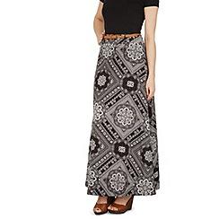 Izabel London - Black aztec print maxi skirt