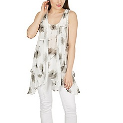 Izabel London - White floral tunic dress with front tie