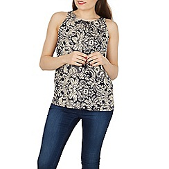 Izabel London - Navy abstract floral print sleeveless top