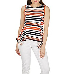 Izabel London - Multicoloured sleeveless round neck stripe peplum top