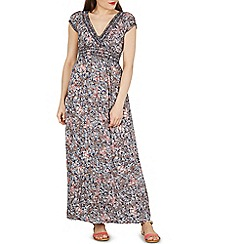 Izabel London - Navy floral print v neck maxi dress