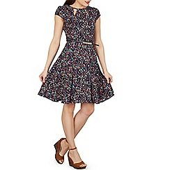 Izabel London - Navy short sleeves floral printed tea dress
