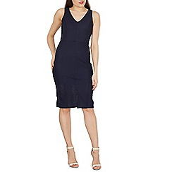 Izabel London - Navy v neck sleeveless bodycon dress