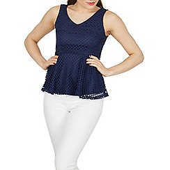 Izabel London - Navy net overlay peplum top