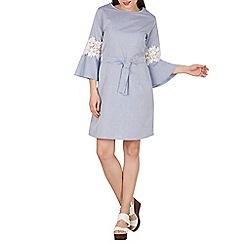 Blue Vanilla - Blue tie waist shift dress with bell sleeves