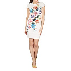 Blue Vanilla - Off white floral placement print cap sleeves dress