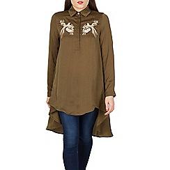 Blue Vanilla - Khaki dipped hem embroidery shirt tunic