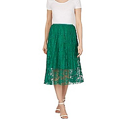 Tenki - Green pleated lace skirt with elasticated waist