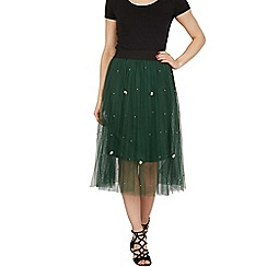Tenki - Green bead insert pleated skirt with elasticated waist