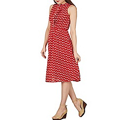 Tenki - Red sleeveless  geo flower print midi dress