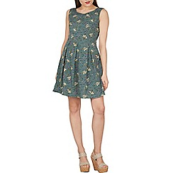 Tenki - Green sleeveless  floral print tie at the back