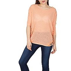 Blue Vanilla - Light pink crochet insert oversized top