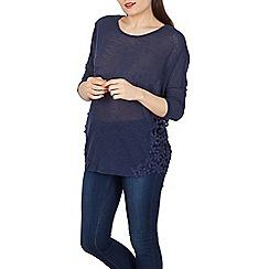 Blue Vanilla - Navy crochet insert oversized top