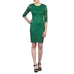 Jolie Moi - Green scalloped lace dress