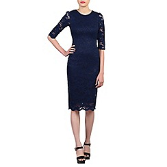 Jolie Moi - Navy 3/4 sleeves lace bodycon dress