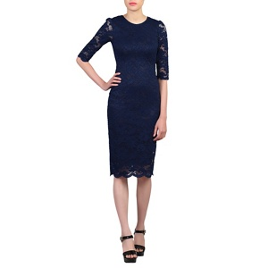 Jolie Moi Navy 3/4 sleeves lace bodycon dress