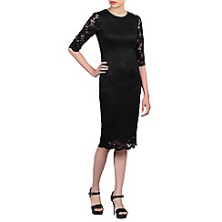 Jolie Moi - Black 3/4 sleeves lace bodycon dress