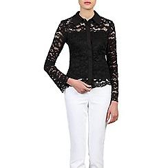Jolie Moi - Black scalloped lace button front blouse