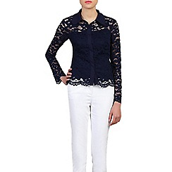 Jolie Moi - Navy scalloped lace button front blouse