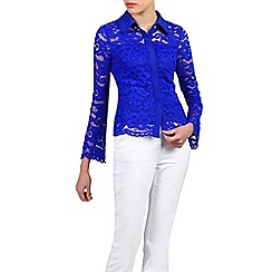Jolie Moi - Royal scalloped lace button front blouse