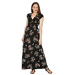 Apricot - Black bouquet print maxi dress