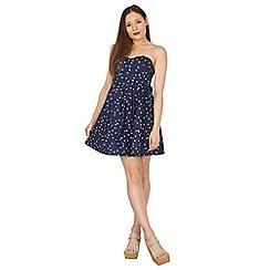 Apricot - Navy dotty print strapless dress