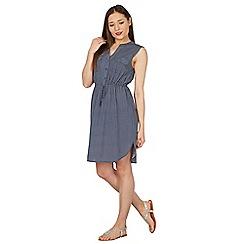 Apricot - Blue tile print shirt dress