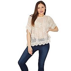 Apricot - Cream palm leaf pattern fine knit jumper