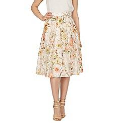 Apricot - Cream floral print organza skirt