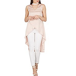 Izabel London - Pale pink choker detail asymmetric top