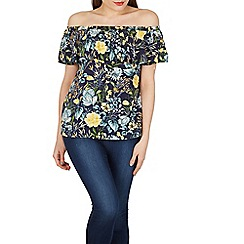 Izabel London - Navy floral print frill bardot top