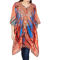 Izabel London - Orange multi print kaftan top
